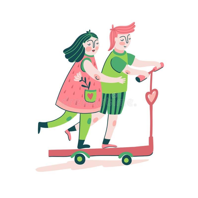 Gulliga unga par som rider en sparkcykel Förälskelsetryckdesign för t-skjorta, affisch- eller förälskelsekort Gullig illustration royaltyfri illustrationer