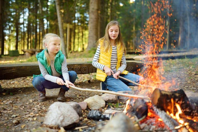 Gulliga unga systrar som grillar hotdogs på pinnar på brasan Barn som har gyckel p? l?gerbrand Campa med ungar i nedg?ngskog arkivfoton