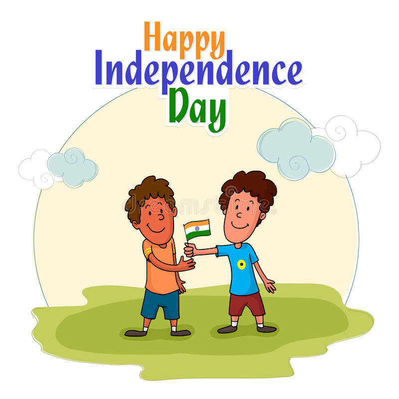 Gulliga ungar som firar indisk självständighetsdagen royaltyfri illustrationer