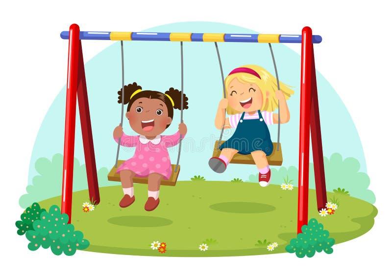 Gulliga ungar som har gyckel på gunga i lekplats stock illustrationer