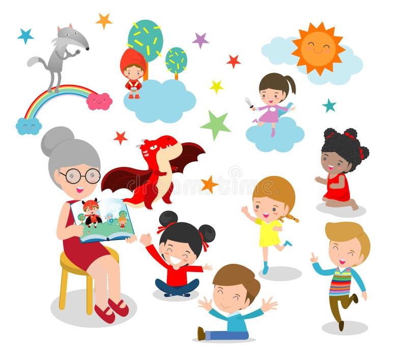 Gulliga ungar som lyssnar till deras lärare Tell en berättelse, läseböcker, lärareläseböcker för barn i dagiset stock illustrationer