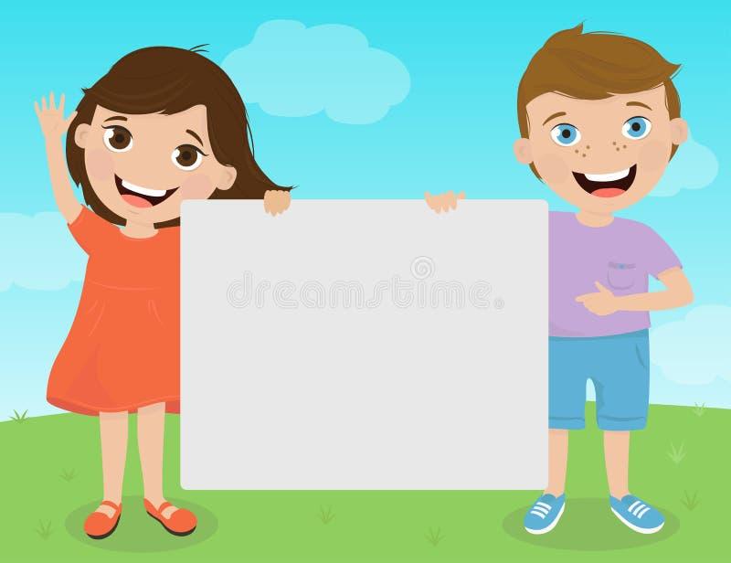 Gulliga ungar som rymmer tecken för din text royaltyfri illustrationer