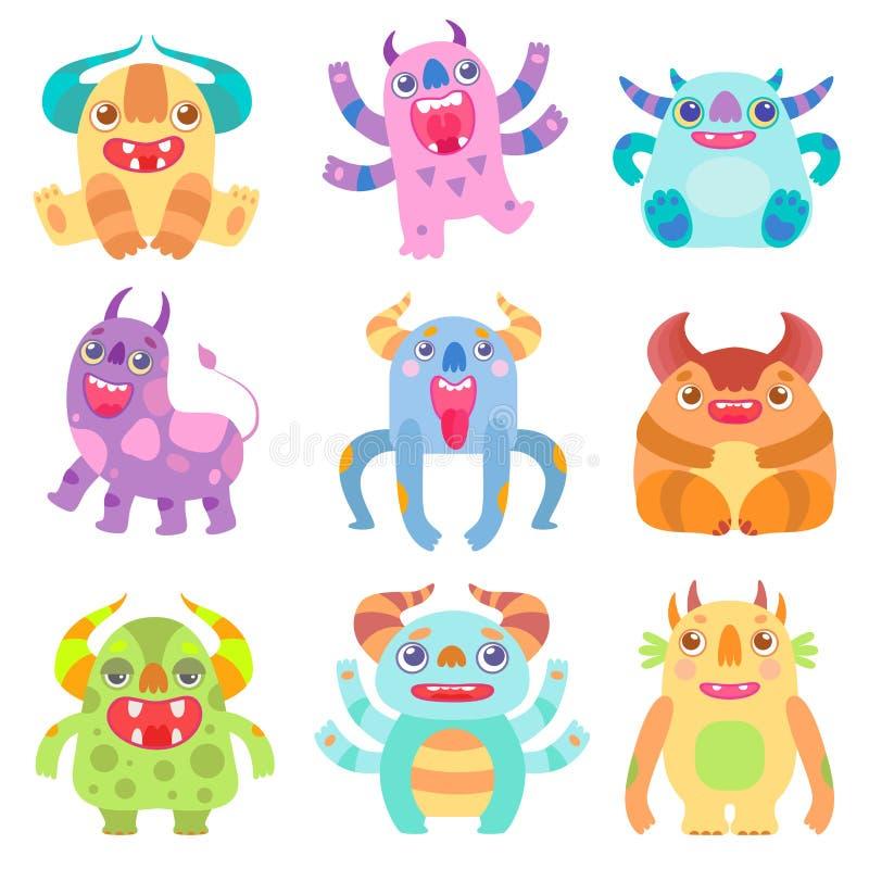 Gulliga vänliga monster med horn, vänlig rolig illustration för vektor för varelser för främlingtecknad filmtecken fantasti royaltyfri illustrationer