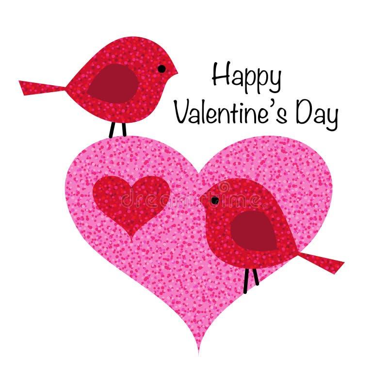 Gulliga valentinfåglar i rosa färger blänker hjärta stock illustrationer