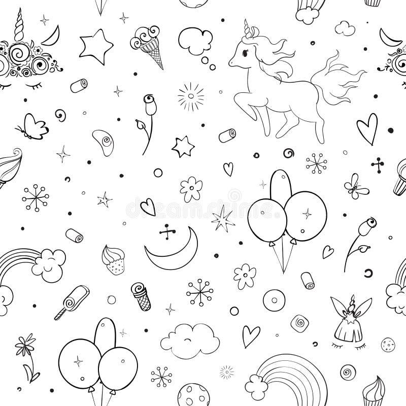 Gulliga vektorenhörningar och sömlös modell för regnbåge - för kawaiistil för hand utdragen illustration med den imaginära hästen vektor illustrationer