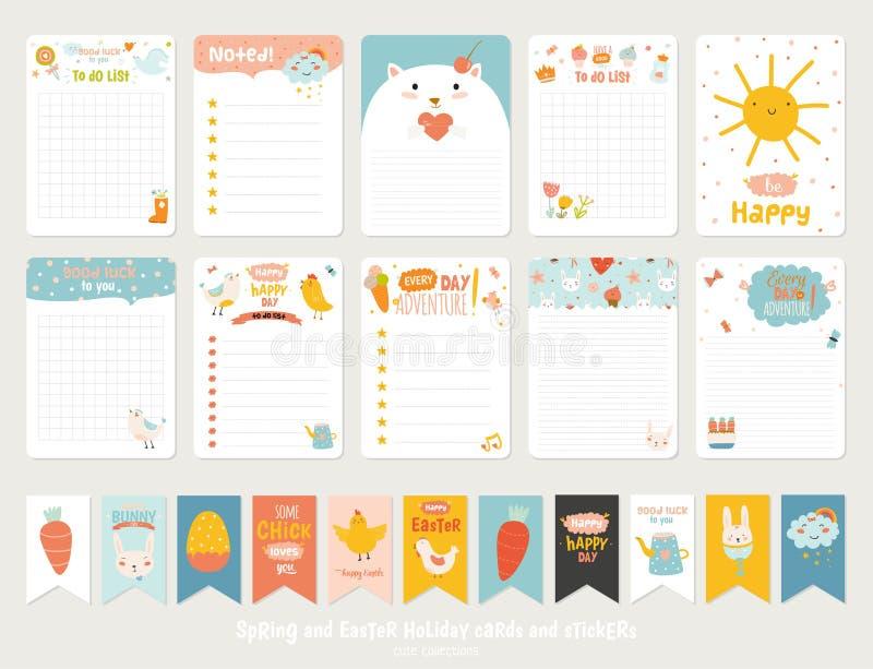 Gulliga vektorkort, anmärkningar, klistermärkear stock illustrationer