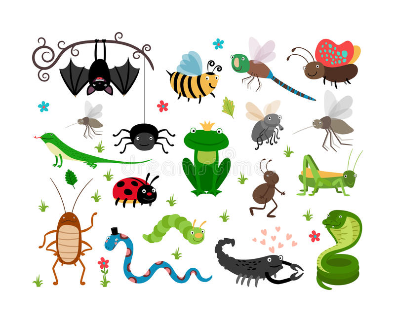 Gulliga vektorkryp, reptilar Bi gräshoppa royaltyfri illustrationer