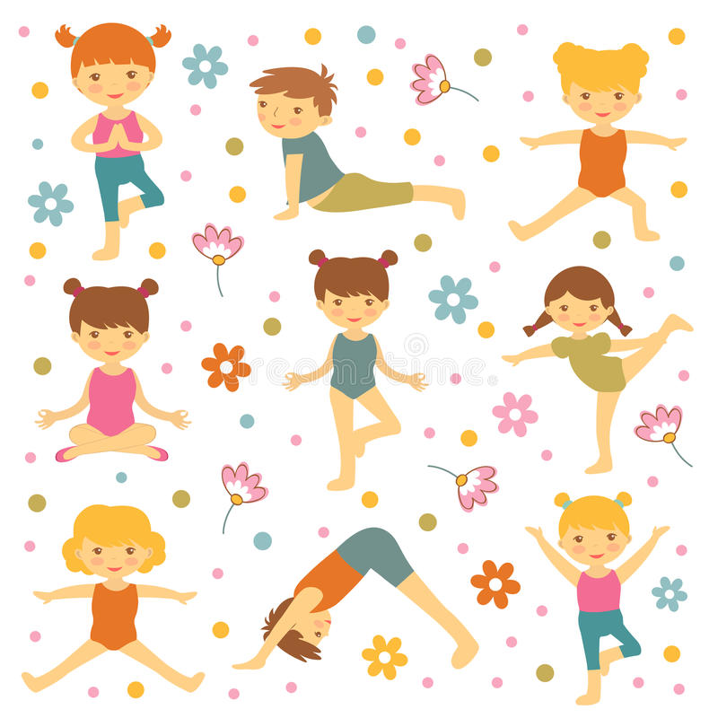 Gulliga yogaungar royaltyfri illustrationer