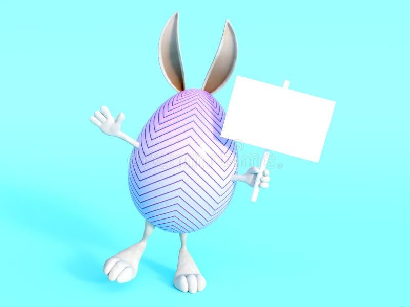 Gulligt ägg för påskkanin med tecknet vektor illustrationer