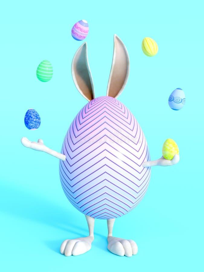 Gulligt ägg för påskkanin som jonglerar easter ägg royaltyfri illustrationer
