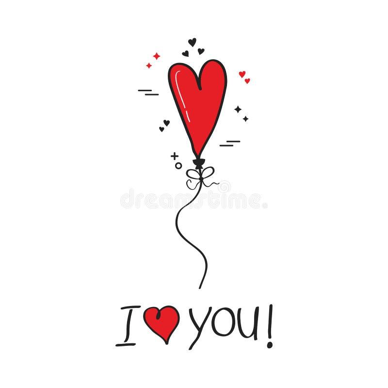 Gulligt älskar jag dig det röda enkla kortet för hälsningen för hjärtaheliumballongen på vit bakgrund stock illustrationer