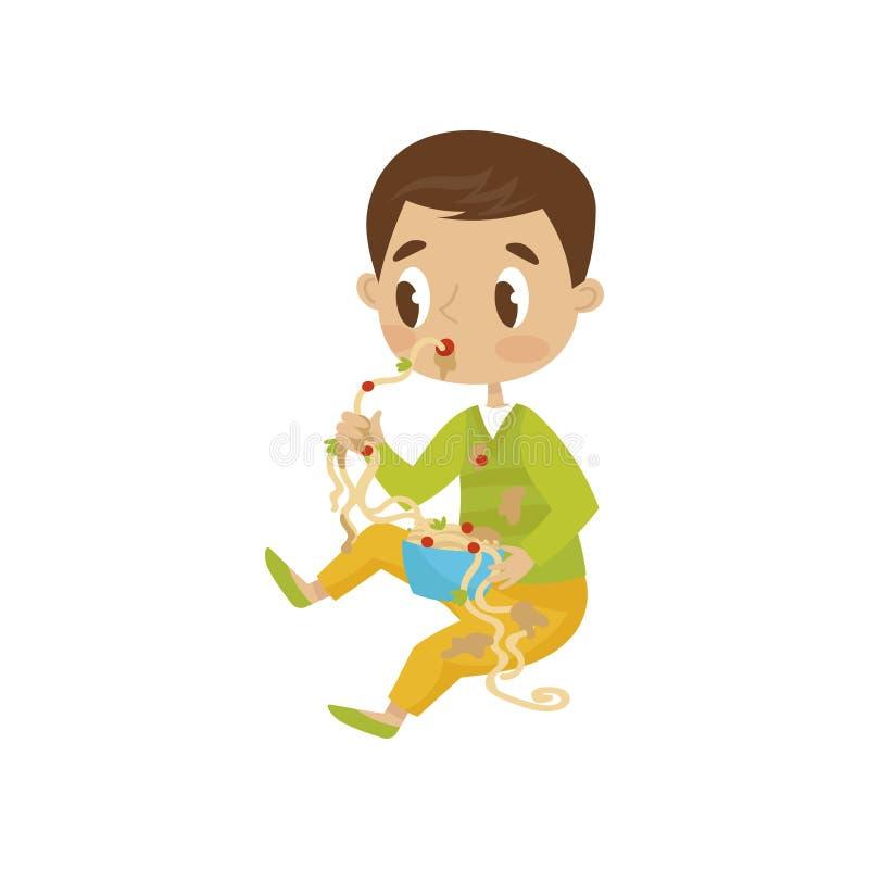 Gulligt äta för pojke som är smutsigt, gladlynt unge för ligist, dålig illustration för barnuppförandevektor på en vit bakgrund vektor illustrationer