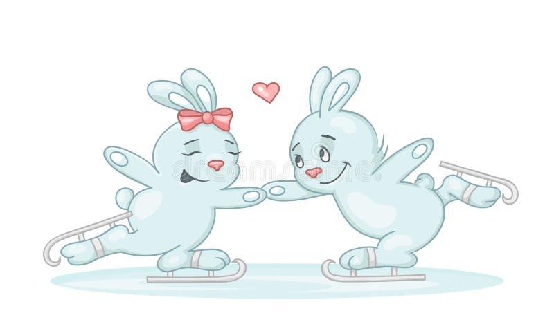 Gulligt åka skridskor för två kaniner stock illustrationer