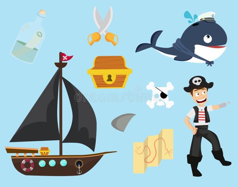 Gulligt av piratkopiera samlingen royaltyfri illustrationer