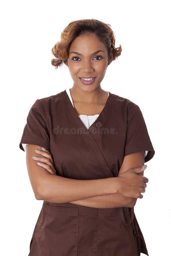 Gulligt bära för kvinna skurar. royaltyfria foton