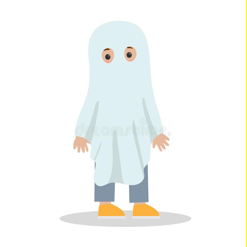 Gulligt barn i en vit spökedräkt stock illustrationer