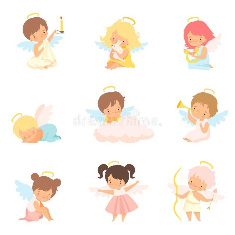 Gulligt behandla som ett barn änglar med den Nimbus och vinguppsättningen, förtjusande pojkar och flickatecknad filmtecken i Ange stock illustrationer