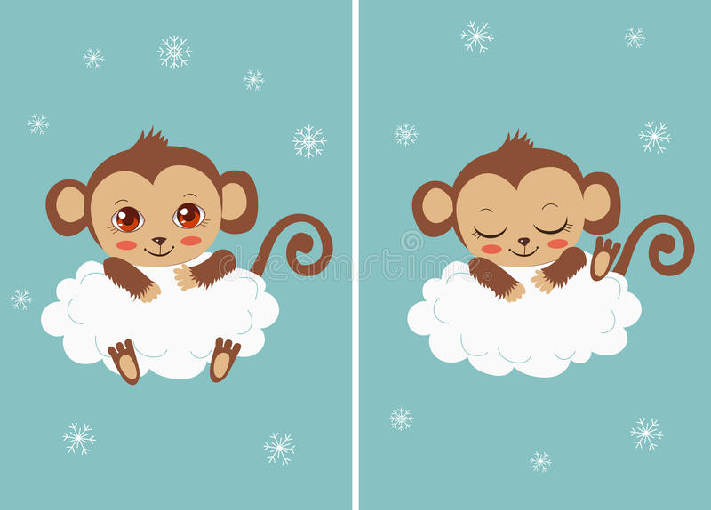 Gulligt behandla som ett barn apan på ett moln som sover och med stora ögon Tecknad filmvektorkort royaltyfri illustrationer
