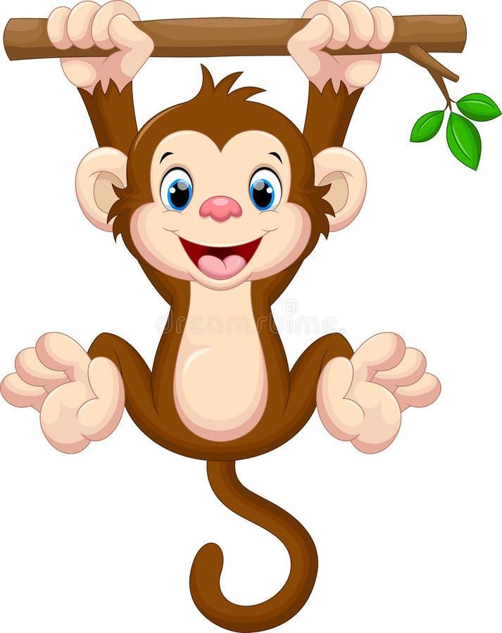 Gulligt behandla som ett barn apan som hänger på träd royaltyfri illustrationer