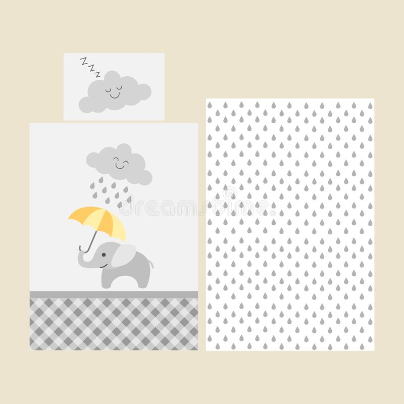 Gulligt behandla som ett barn bedsheetmodellen - elefant med det orange paraplyet under det regniga molnet vektor illustrationer