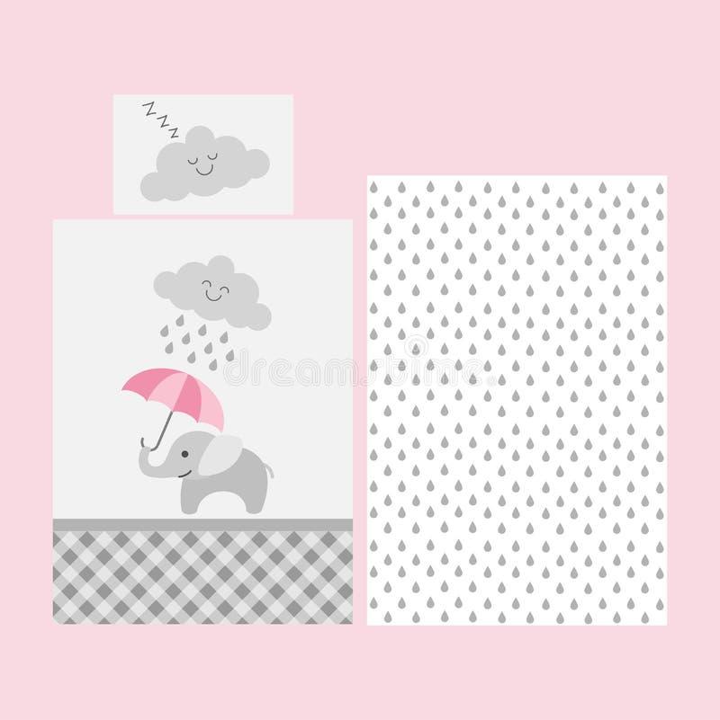 Gulligt behandla som ett barn bedsheetmodellen - elefant med det rosa paraplyet under det regniga molnet vektor illustrationer