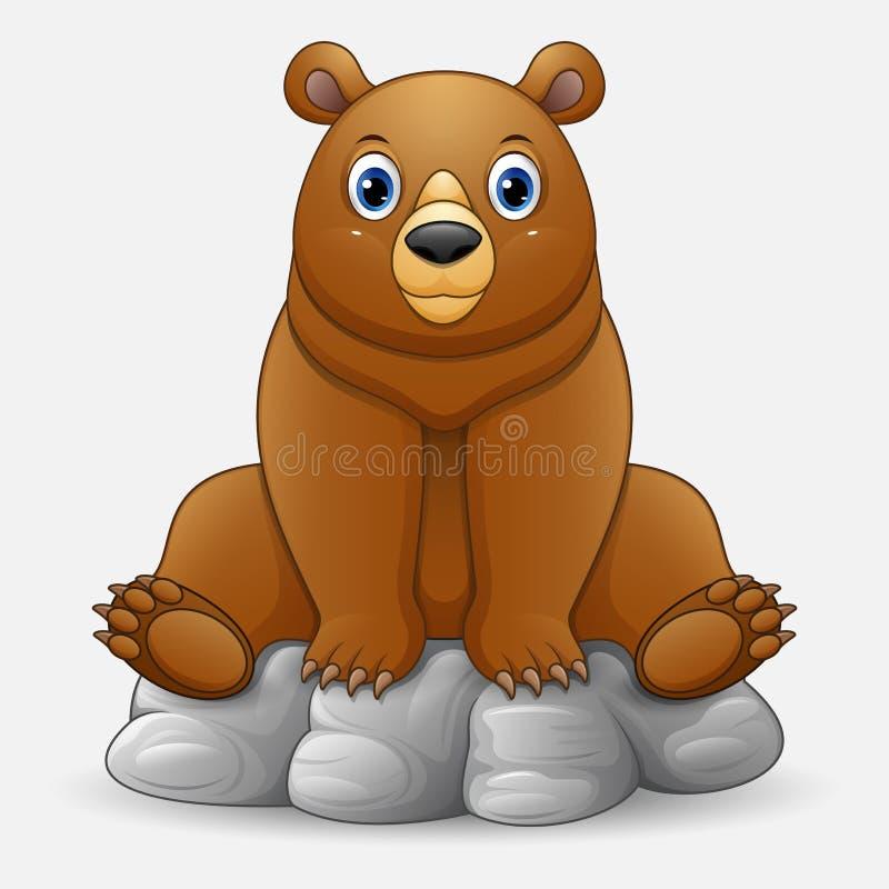 Gulligt behandla som ett barn björnen, tecknad film somsammanträde vaggar på vektor illustrationer