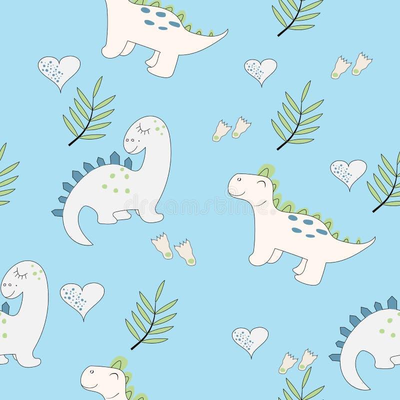 Gulligt behandla som ett barn den sömlösa modellen för dinosaurien vektor illustrationer