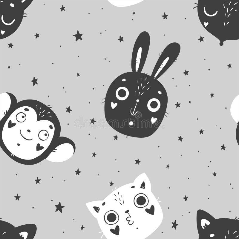 Gulligt behandla som ett barn den sömlösa modellen för djur, den barnkammare isolerade illustrationen för att bekläda för barn vektor illustrationer