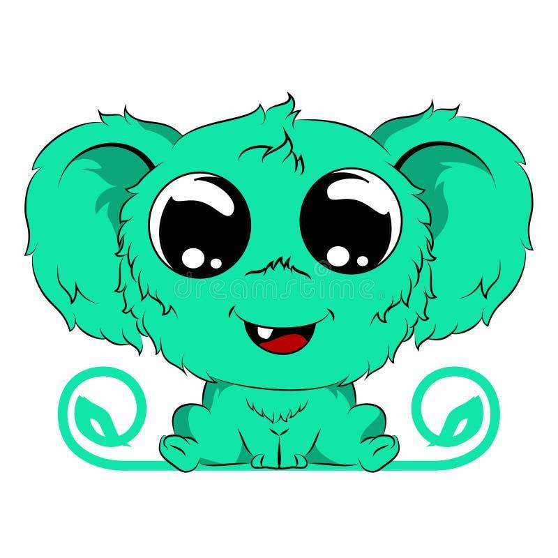 gulligt behandla som ett barn det gröna päls- monstret royaltyfri illustrationer