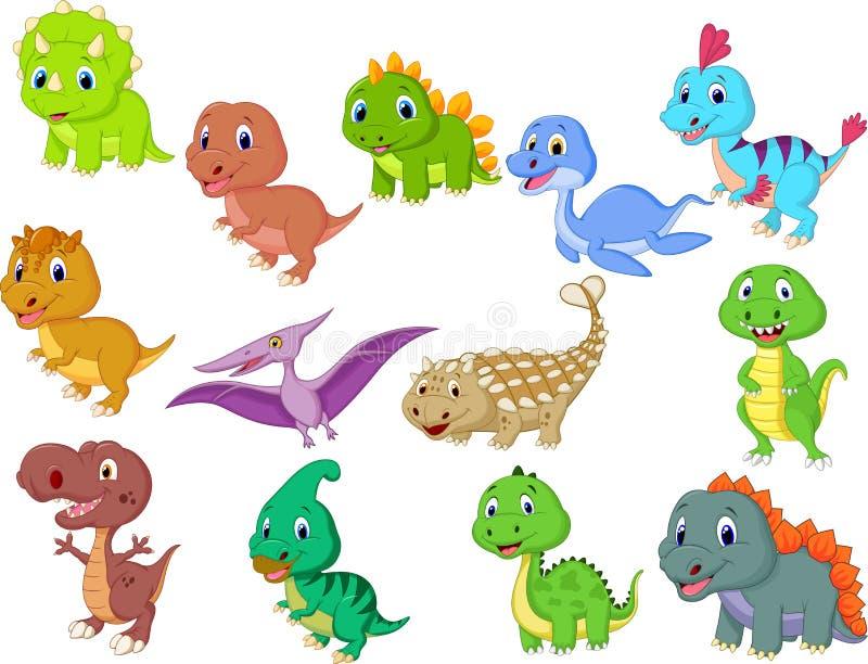 Gulligt behandla som ett barn dinosauriesamlingen royaltyfri illustrationer