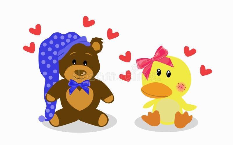 Gulligt behandla som ett barn dockabjörnen och ducka förälskat stock illustrationer