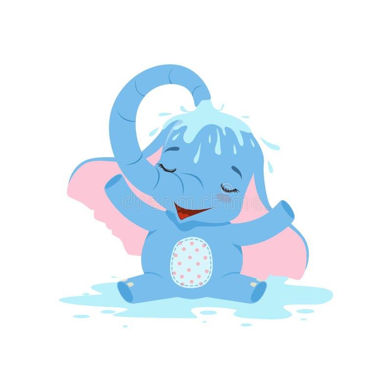 Gulligt behandla som ett barn elefanten som häller sig med vatten, för teckenvektor för rolig djungel djur illustration vektor illustrationer