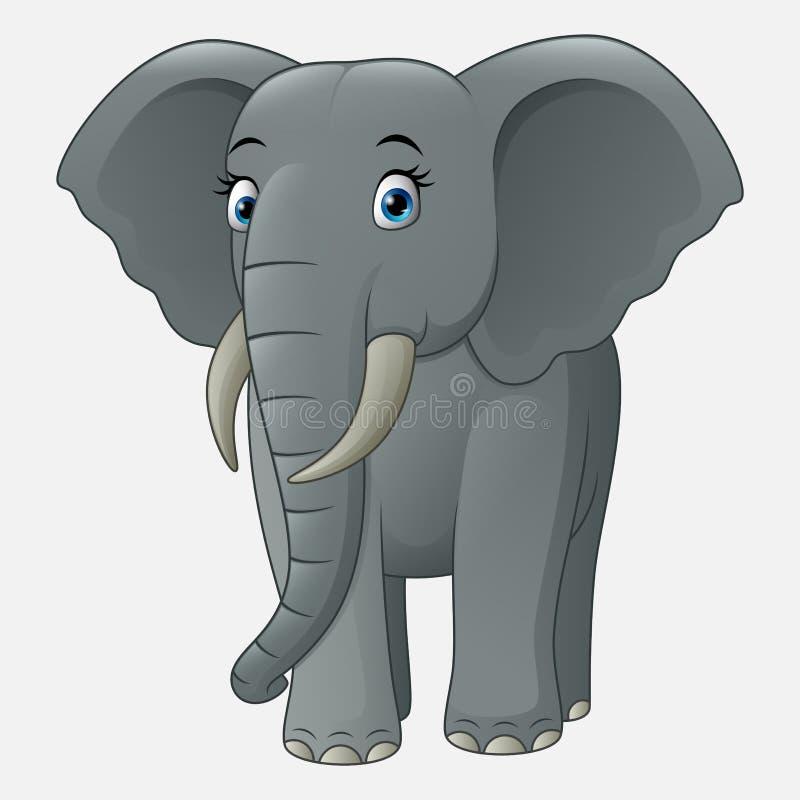 Gulligt behandla som ett barn elefanten som isoleras på vit bakgrund stock illustrationer