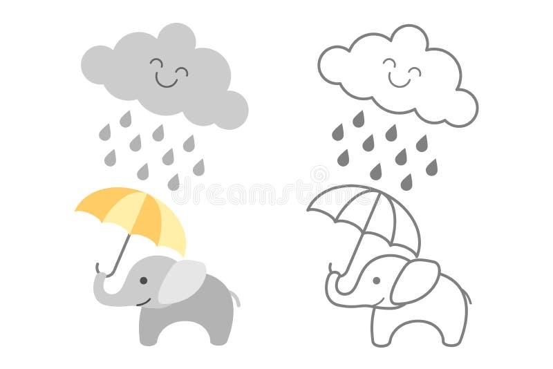 Gulligt behandla som ett barn elefanten under regniga molnet - som fylls och det skisseras stock illustrationer