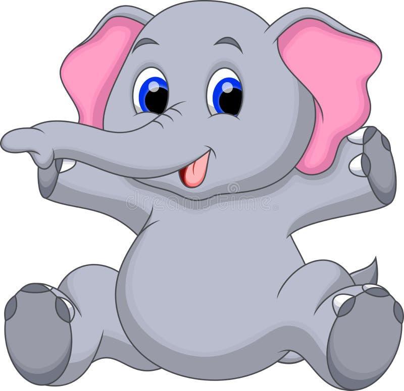Gulligt behandla som ett barn elefanttecknade filmen royaltyfri illustrationer
