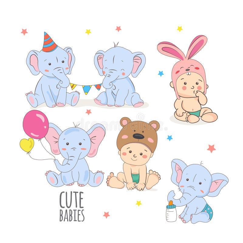 Gulligt behandla som ett barn eller illustrationen för vektorn för elefanten för litet barnpojken den djura stock illustrationer