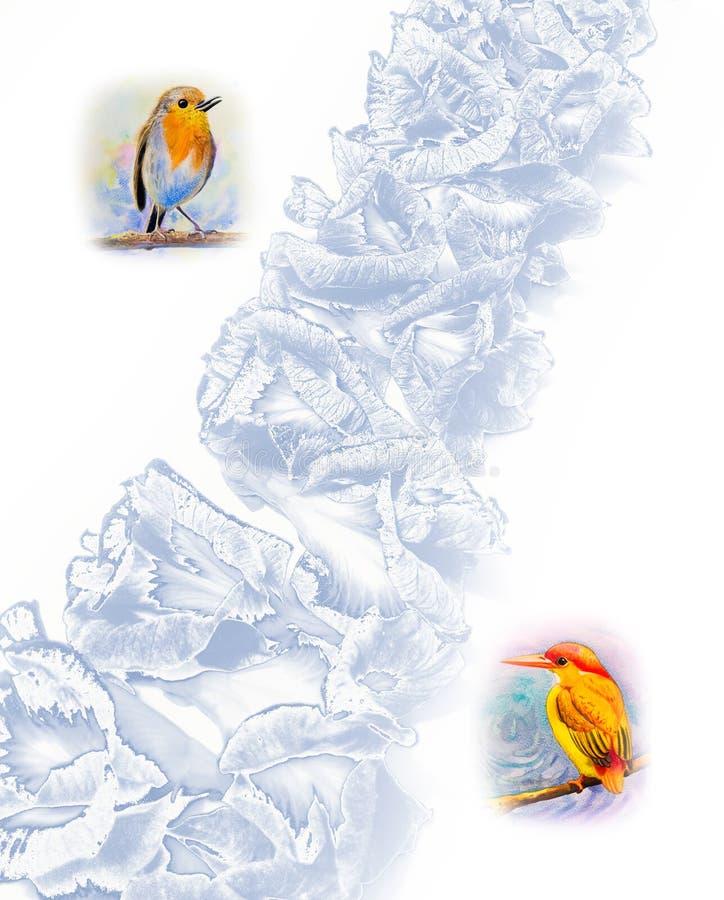 Gulligt behandla som ett barn fåglar och blommar vattenfärgmålning vektor illustrationer