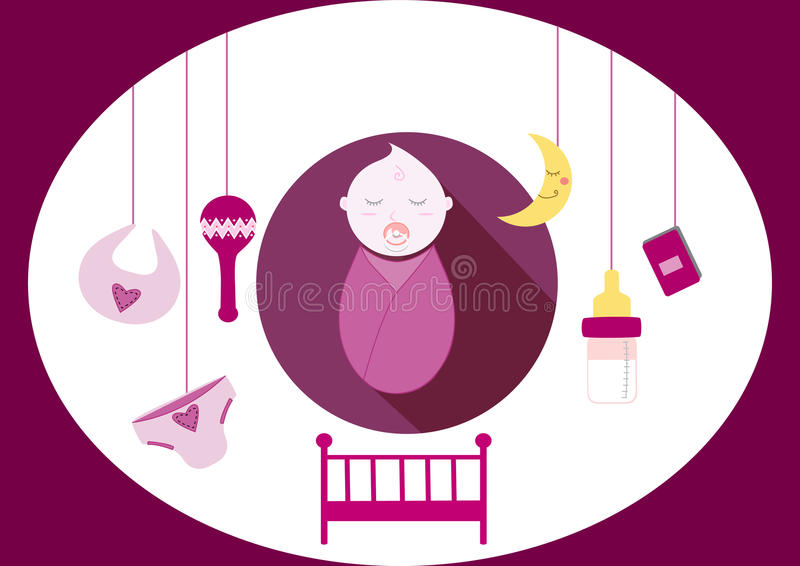 Gulligt behandla som ett barn flickabeståndsdelar, illustration stock illustrationer