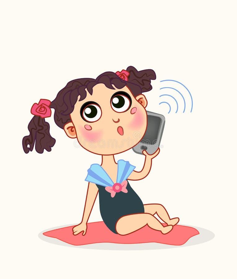 Gulligt behandla som ett barn flickan med den smarta telefonen stock illustrationer