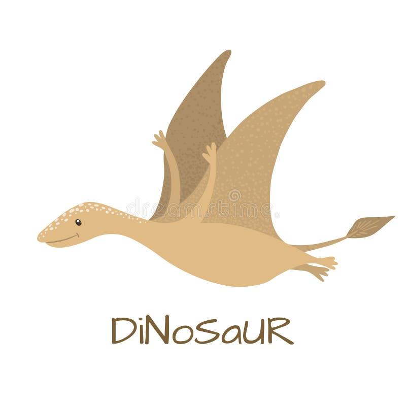Gulligt behandla som ett barn flygödladinosaurien som isoleras på vit stock illustrationer