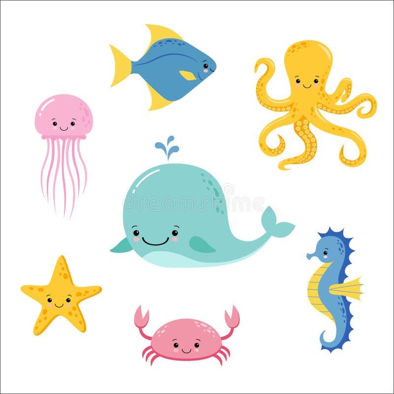 Gulligt behandla som ett barn havsfiskar Samling f?r djur f?r vektortecknad film undervattens- Manet- och sj?stj?rna-, hav- och h stock illustrationer