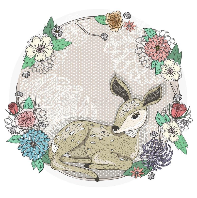 Gulligt behandla som ett barn hjort- och blommaramen. stock illustrationer
