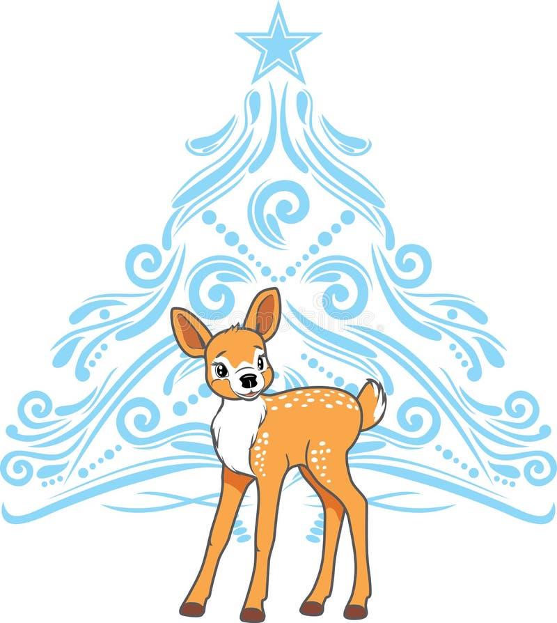 Gulligt behandla som ett barn hjortar med den stiliserade blåa julgranen royaltyfri illustrationer