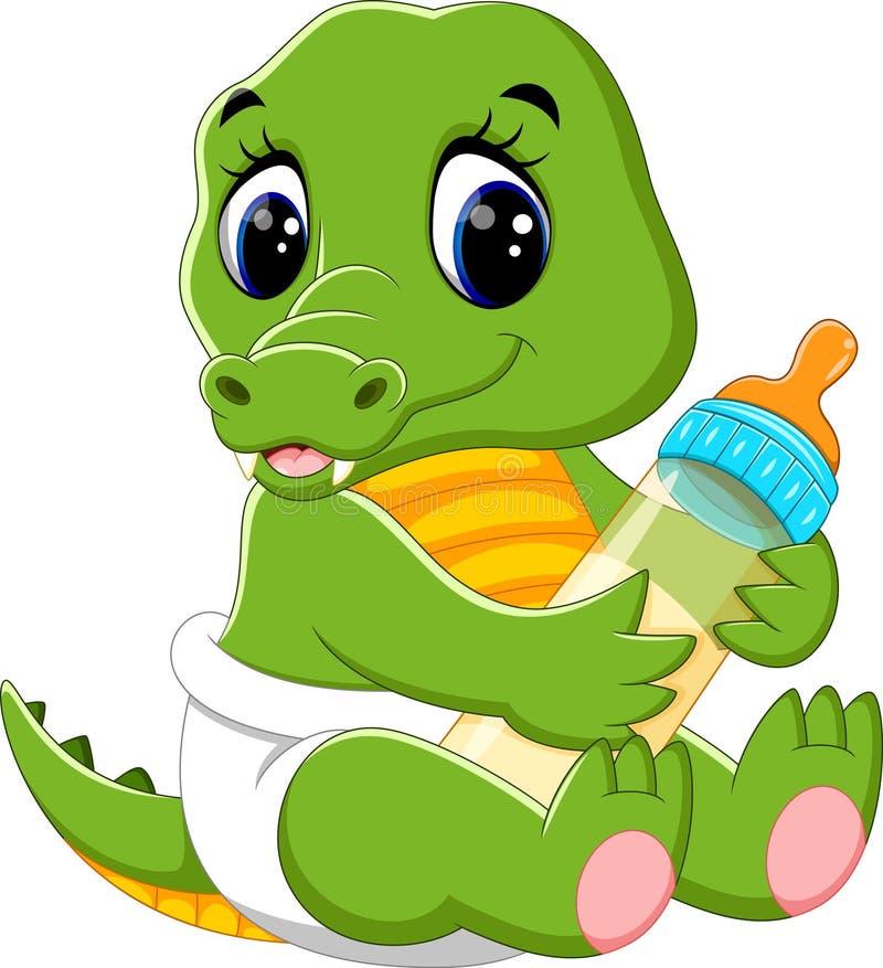 Gulligt behandla som ett barn krokodiltecknade filmen royaltyfri illustrationer