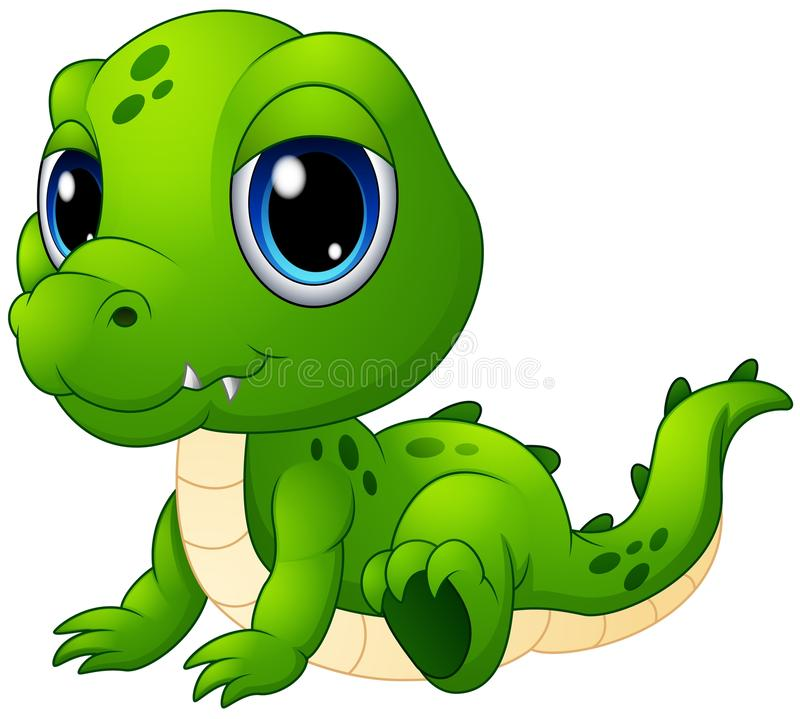 Gulligt behandla som ett barn krokodiltecknade filmen stock illustrationer