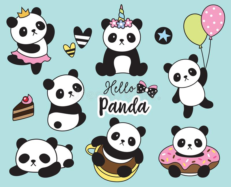 Gulligt behandla som ett barn Panda Vector Illustration stock illustrationer