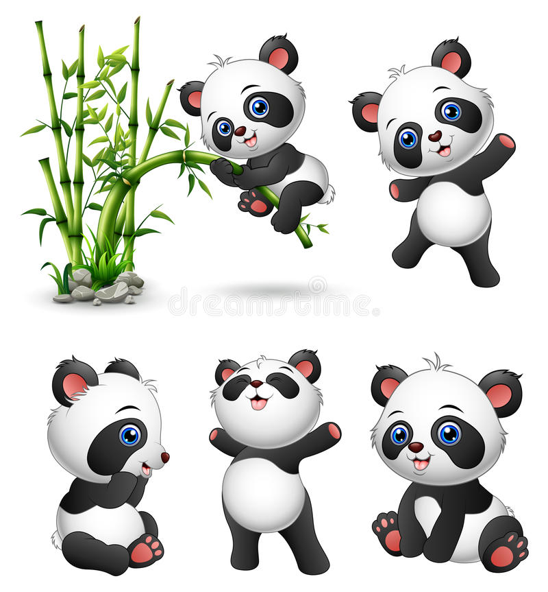 Gulligt behandla som ett barn pandasamlingen royaltyfri illustrationer