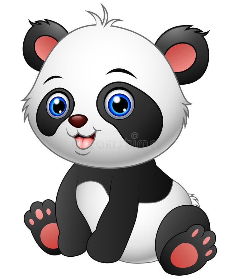 Gulligt behandla som ett barn pandasammanträde royaltyfri illustrationer