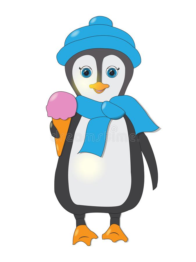 Gulligt behandla som ett barn pingvintecknade filmen som isoleras på vit bakgrund stock illustrationer