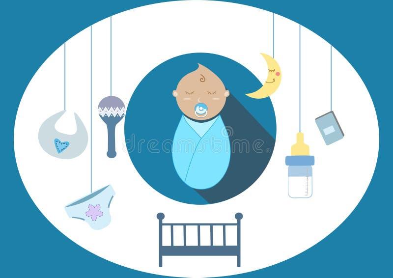 Gulligt behandla som ett barn pojkebeståndsdelar, illustration stock illustrationer